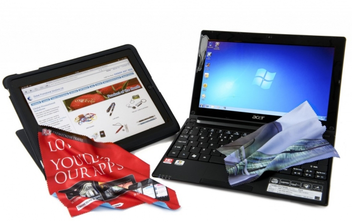 microfibre cloths and laptop