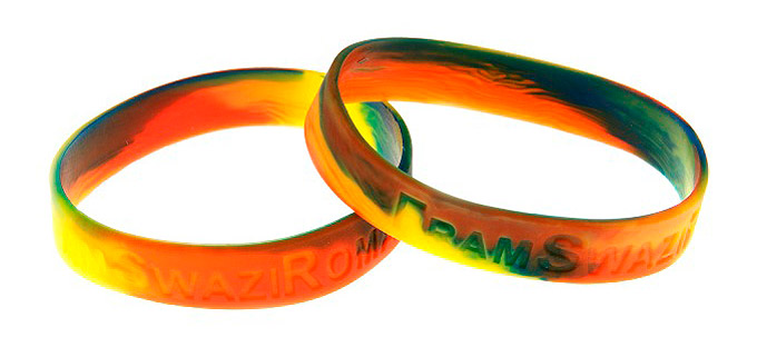 marbled effect muli-coloured silicone wristbands