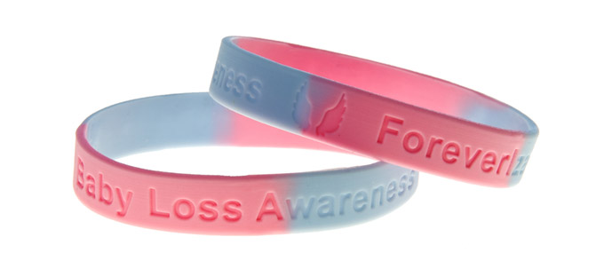 Loss awareness colour sectioned debossed silicone wristbands