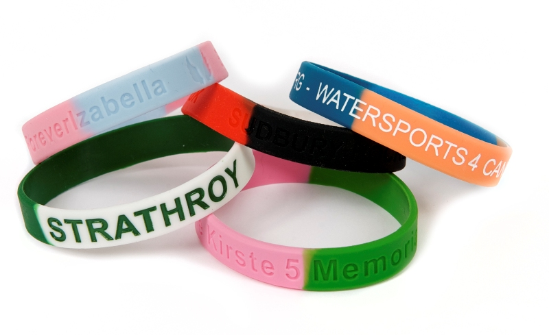 Colour sectioned silicone wristbands