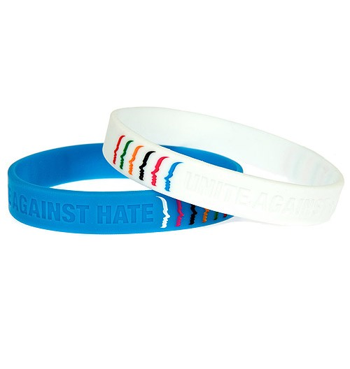 Unite Against Hate color filled debossed silicone wristbands