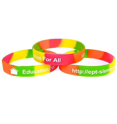 Colour Sectioned Debossed Silicone Wristbands with Colour Fill