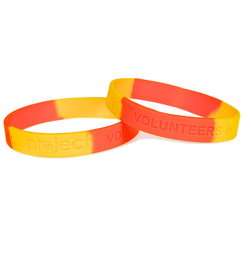 Two Colour Sectioned Debossed Silicone Wristbands