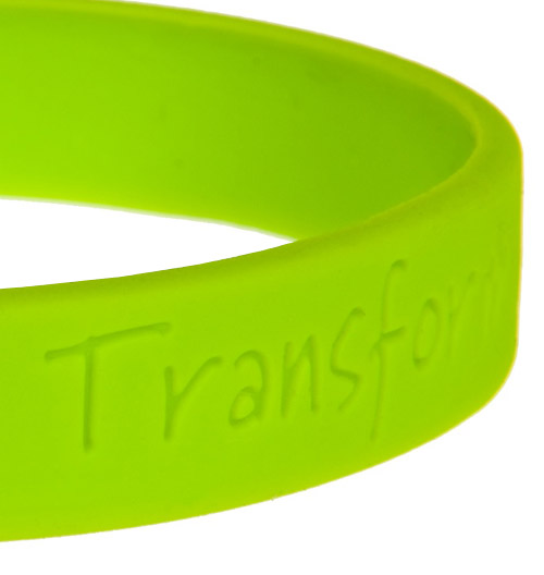 Custom debossed silicone wristbands close-up
