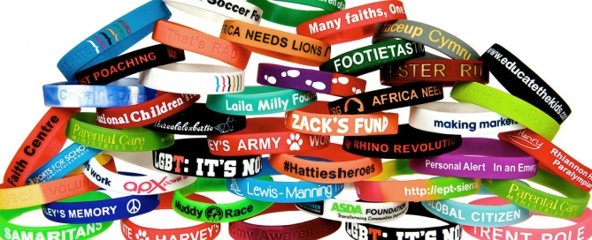 Various types and styles of personalised rubber wristbands