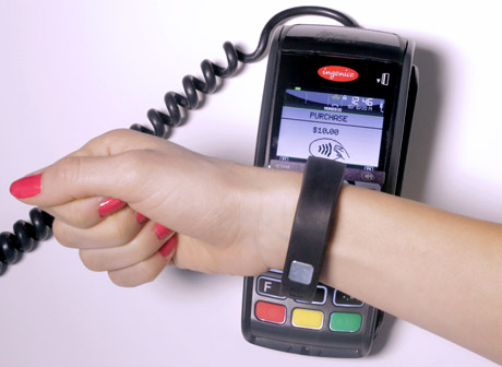 Example of a silicone payment wristband already in operation