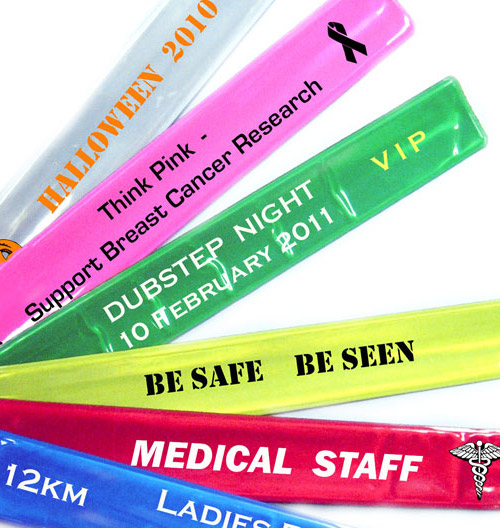 Single Colour Reflective Custom Slap Bands