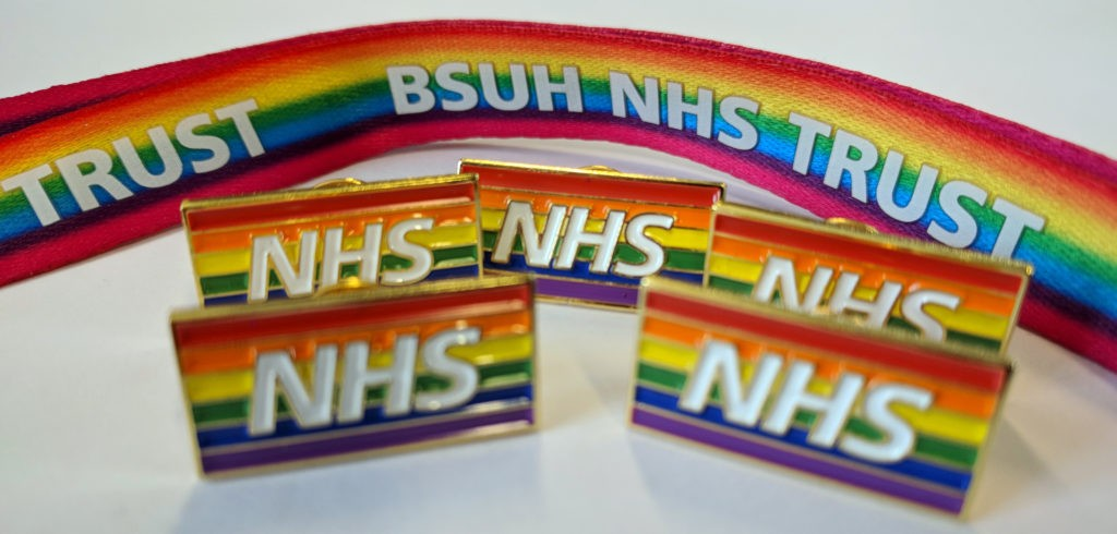 Branded rainbow lanyards and badges are routinely being purchased in bulk by the NHS.