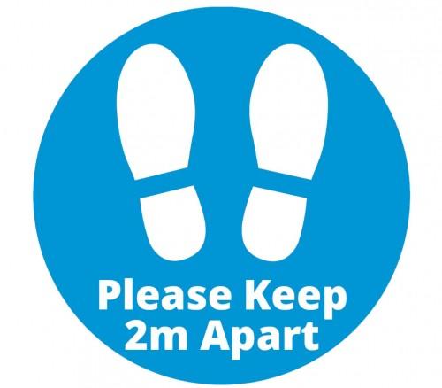 2m apart signage blue