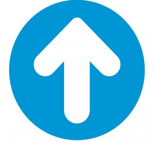 blue arrow circle floor sign