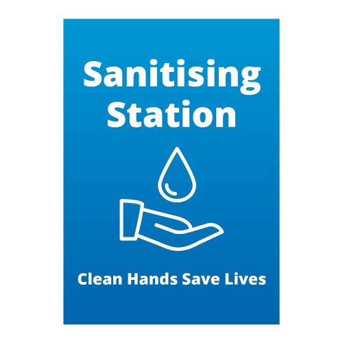 Poster - Sanitising Station blue