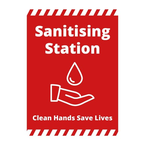 Poster - Sanitising Station red