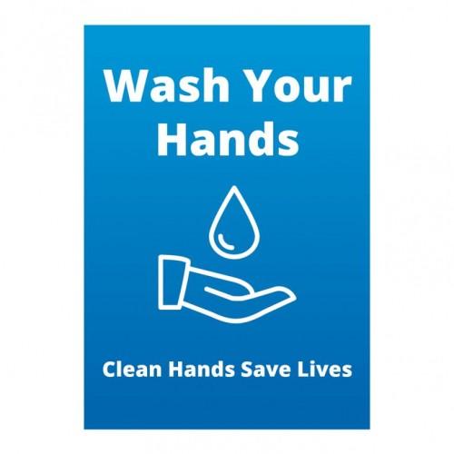 Poster - Wash Hands blue