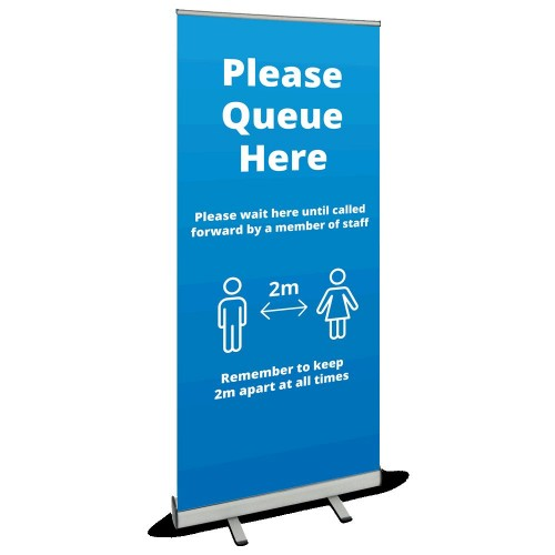 Roller Banner - Queue Here blue