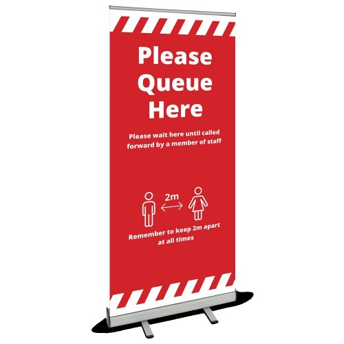 Roller Banner - Queue Here red