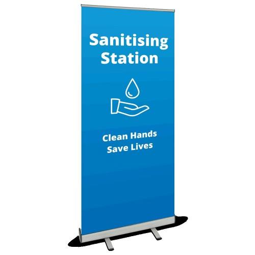 Roller Banner - Sanitising Station blue