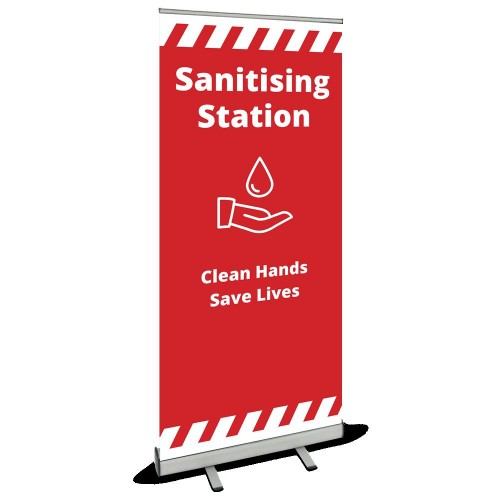 Roller Banner - Sanitising Station red