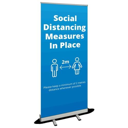 Roller Banner - Social Distancing blue