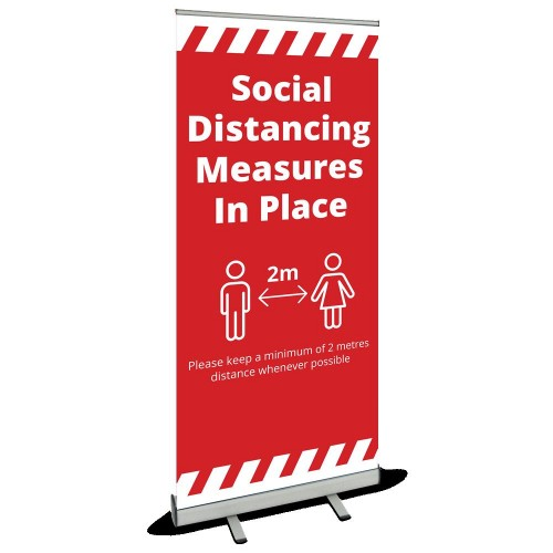 Roller Banner - Social Distancing red