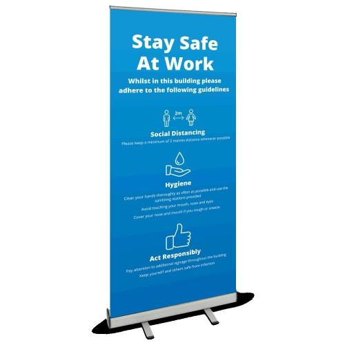 Roller Banner - Stay Safe blue