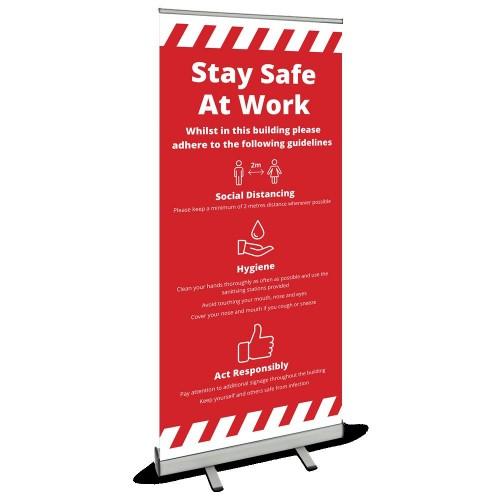 Roller Banner - Stay Safe red