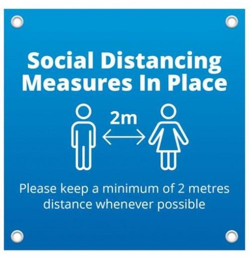 Social Distance PVC Banner 1m x 1m -blue