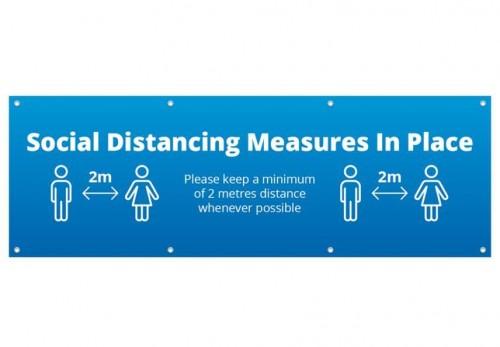 Social Distance PVC Banner 2m x 1m -blue